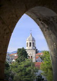 Clock Tower at Cavtat Harbor in Dalmatia Royalty Free Stock Photo