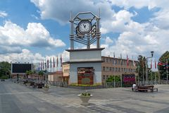 Clock Tower at the central square of town of Strumica, Republic of Macedonia. STRUMICA, MACEDONIA - JUNE 21, 2018: Clock Tower at the central square of town of royalty free stock images