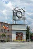 Clock Tower at the central square of town of Strumica, Republic of Macedonia. STRUMICA, MACEDONIA - JUNE 21, 2018: Clock Tower at the central square of town of royalty free stock photos