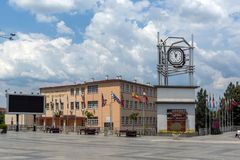 Clock Tower at the central square of town of Strumica, Republic of Macedonia. STRUMICA, MACEDONIA - JUNE 21, 2018: Clock Tower at the central square of town of stock photography