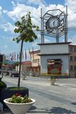 Clock Tower at the central square of town of Strumica, Republic of Macedonia. STRUMICA, MACEDONIA - JUNE 21, 2018: Clock Tower at the central square of town of Stock Photos
