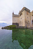 Clock tower of Chillon Castle on Lake Geneva in Switzerland Royalty Free Stock Image