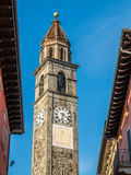 Clock tower of church in Ascona Stock Photography