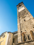 Clock tower of church in Ascona Royalty Free Stock Images