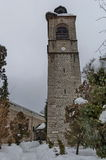 Clock tower at church in Bansko town Stock Photography