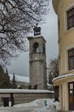 Clock tower at church in Bansko town Stock Image