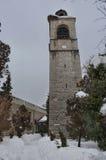 Clock tower at church in Bansko town Royalty Free Stock Image