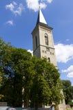 Clock tower of the Church of Madonna on Námětí Stock Image