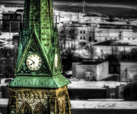 Clock tower. Church with an old clock tower Royalty Free Stock Photo