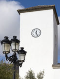 Clock Tower at Church Parroqial de Santa Maria, Senes Village Royalty Free Stock Photo