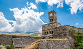 Clock tower of citadel in Gjirokaster Stock Images
