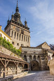 The clock tower of the citadel in Sighisoara Stock Images