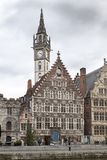 Clock tower in a city, Ghent, Belgium Royalty Free Stock Photos