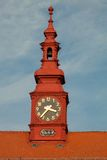 Clock tower at City Hall in Jihlava Czech Republic with the year Stock Images