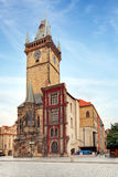Clock tower - City hall  in Prague, Czech republic Stock Images