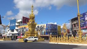 Clock tower on the city square of Chiang Rai. Thailand stock video