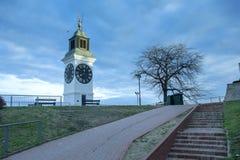 The Clock Tower, distinctive landmark of Petrovaradin fortress, Royalty Free Stock Photography