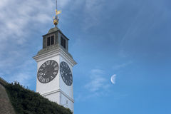 The Clock Tower, distinctive landmark of Petrovaradin fortress, Royalty Free Stock Images