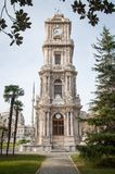 Clock tower in Dolmapache Palace. The clock tower in Istanbul's famous palace area Royalty Free Stock Photography