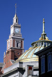 Clock tower and Dome. Historic clocktower and dome on buildings in Providence, Rhode Island Stock Photography