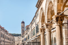 Clock Tower in Dubrovnik old town, Croatia Stock Photo