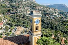 Clock tower in Eze village. France stock image