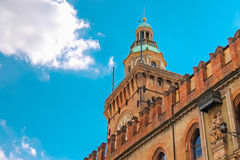 Clock Tower and facade of the Palazzo Comunale in Bologna Royalty Free Stock Images