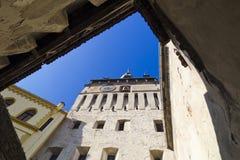 Clock Tower facade - Sighisoara Stock Images