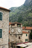 Clock tower. Famous attractions of the city of Kotor - Clock Tower Royalty Free Stock Photography