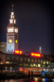 Clock tower of Ferry Building. Lit up at night, The Embarcadero, San Francisco, California, USA royalty free stock image