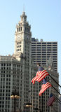 Clock tower and flags. In chicago royalty free stock photography