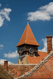 Clock-tower of the fortified church in Miercurea Sibiului Stock Photography