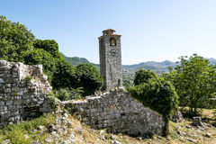 Clock tower in the Fortress in the old town of Bar in Montenegro Stock Photos
