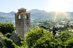 Clock tower in the Fortress in the old town of Bar in Montenegro Stock Images