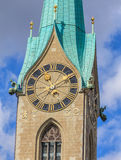 Clock tower of the Fraumunster Cathedral in Zurich Royalty Free Stock Photos