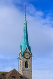 Clock tower of the Fraumunster Cathedral in Zurich Stock Photography
