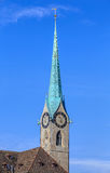 Clock tower of the Fraumunster Cathedral in Zurich, Switzerland Royalty Free Stock Image