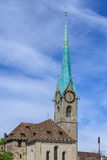 Clock tower of the Fraumunster cathedral in Zurich, Switzerland Royalty Free Stock Images