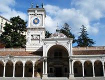 Clock tower in freedom square, Piazza della Libertà. Udine, Friuli Venezia-Giulia, Italy. Clock tower in freedom square, Piazza della Libertà. Udine royalty free stock image