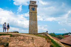 Clock tower in Galle. View with clock tower in fort of Galle, Sri Lanka Stock Photos