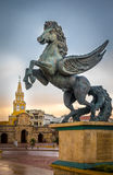 Clock Tower Gate and Pegasus Statue - Cartagena de Indias, Colombia Royalty Free Stock Photos