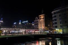 Clock tower in Geneva city at nitht royalty free stock photography