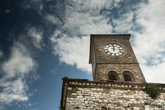 Clock tower in Gjirokastra, Albania Royalty Free Stock Images