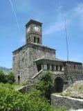 Clock tower, Gjirokastra, Albania. A view of the clock tower overlooking the town of Gjirokastra in southern Albania Stock Photo