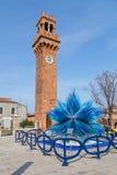Clock Tower and Glass Sculture in Campo Santo Stefano in Murano Stock Image