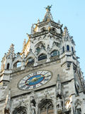Clock tower and glockenspiel of the Gothic New Town Hall (Neues. The Neue Rathaus (New Town Hall) is a magnificent neo-gothic building from the turn of the Royalty Free Stock Image