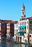 Clock Tower in Grand canal Venice Stock Photo