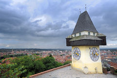 Clock tower in Graz Stock Photography