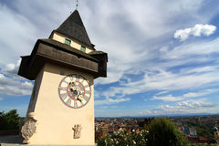 The Clock tower in Graz Stock Photography