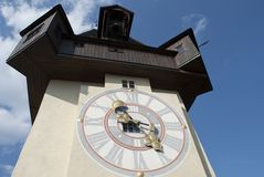 Clock Tower in Graz, Austria Royalty Free Stock Photography